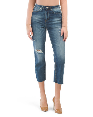 Juniors High Rise Raw Edge Jeans
