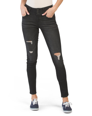 Juniors 3 Button Mid Rise Skinny Jeans