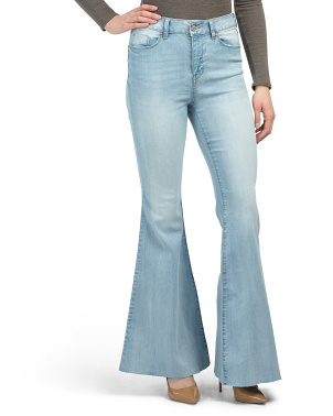High Waist Flare Jeans With Cut Hem