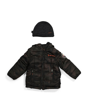 Toddler Boy Reversible Puffer Jacket With Faux Fur