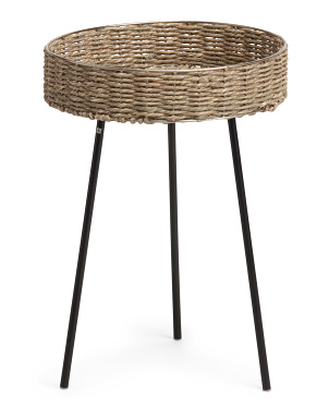 21in Rattan Round Accent Table