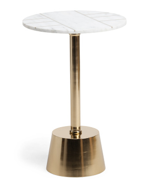 25in Metal Marble Round Table