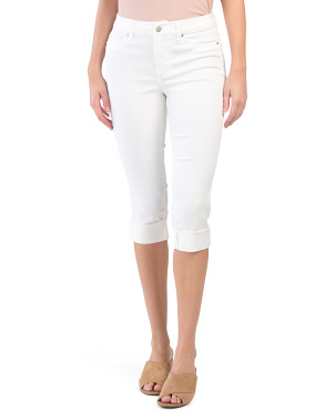 High Waisted Wide Fray Roll Cuff Capris