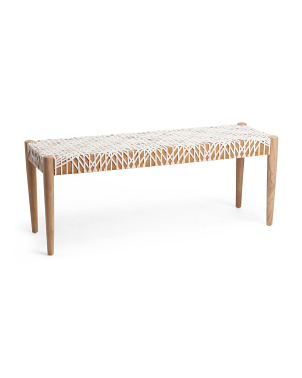 Bandelier Leather Weave Bench