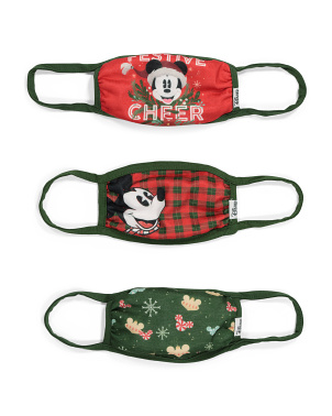 Kids 3pk Mickey Holiday Face Masks