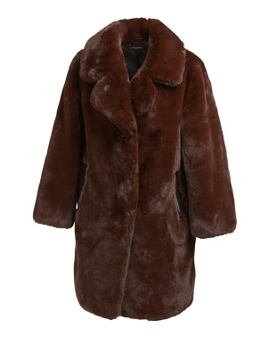 Women's Long Faux Fur Coat With Zipper Pockets