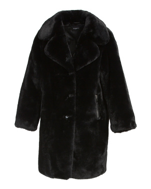 Long Faux Fur Coat With Zipper