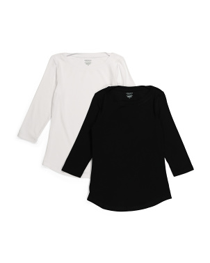 2pk Three-quarter Sleeve Boat Neck Top