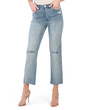 High Rise Straight Jeans With Knee Slits