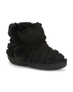 Jacquard Faux Fur Slipper Booties