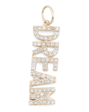14k Gold And Diamond Dream Block Charm