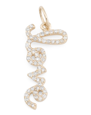 14k Gold And Diamond Script Vertical Love Charm