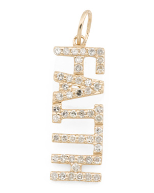 14k Gold And Diamond Faith Block Charm