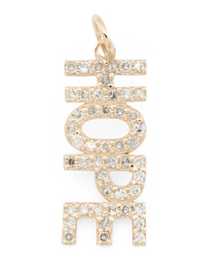 14k Gold And Diamond Hope Block Charm