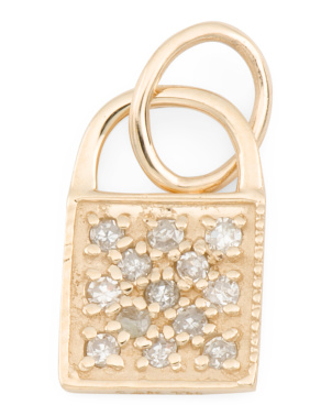 14k Gold And Diamond Padlock Charm