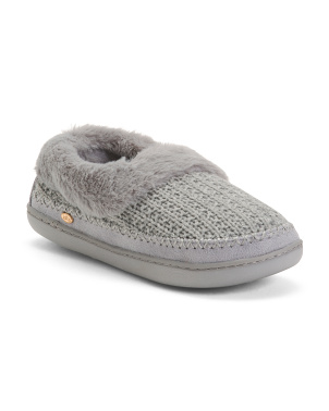 Knit Clogs With Faux Fur