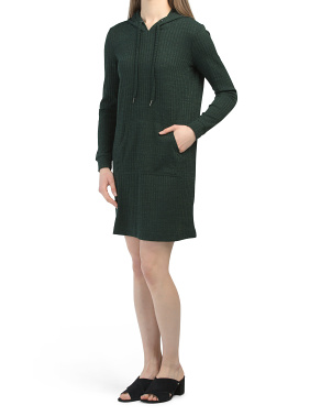 Long Sleeve Rib Knit Hoodie Dress