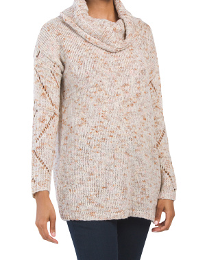 Juniors Speckle Cowl Tunic Sweater