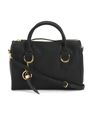 Leather Large Satchel With Crossbody Strap