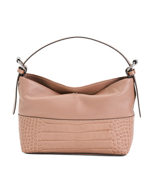 Multi Tone Croco Nappa Leather Hobo