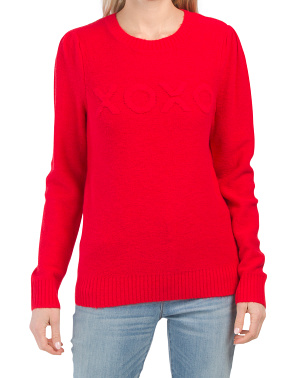Textured Verbiage Pullover Sweater