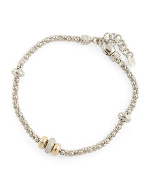 Made In Italy 14k Gold And Sterling Silver Cz Bead Bracelet