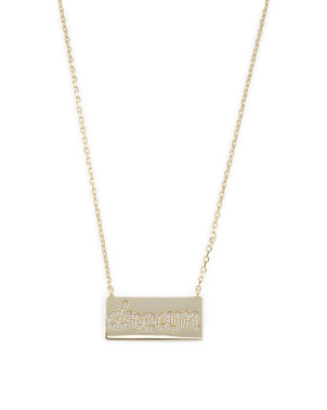 14k Gold Plated Sterling Silver Cz Dream Necklace