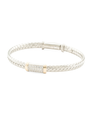 Made In Italy Sterling Silver And 14k Gold Cz Bar Bracelet