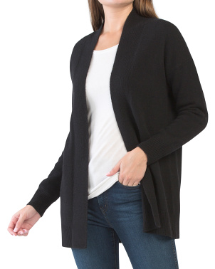 Rib Trim Wool Blend Cardigan