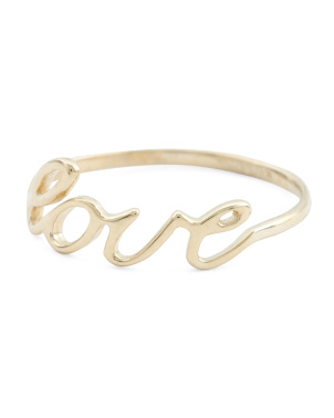 Made In Italy 14k Gold Love Script Ring