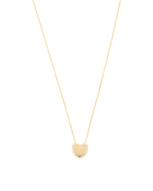 Made In Italy 14k Gold Cz Sliding Heart Necklace