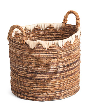 Large Round Banana Basket With Rattan Decoration