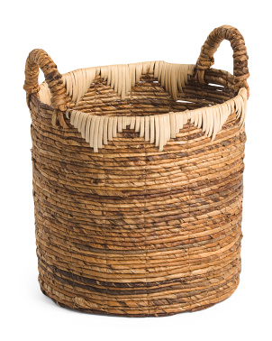 Small Round Banana Basket With Rattan Decoration