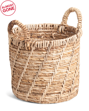 Small Round Bleached Banana Leaf Basket