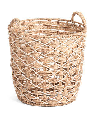 Xl Round Braided Resin Basket With Rope Handles