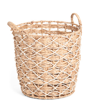 Large Round Braided Resin Basket With Rope Handles