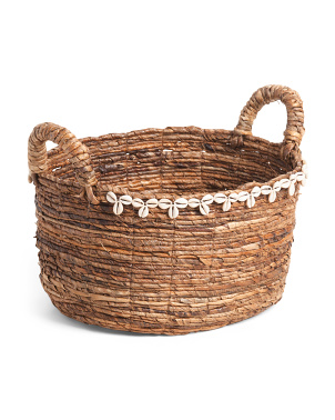 Medium Natural Oval Basket With Shell Detail