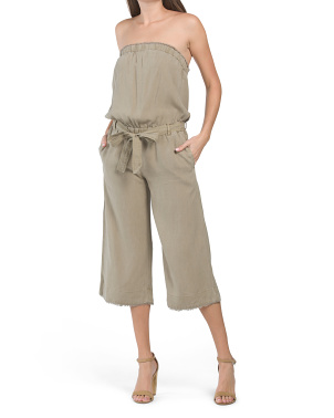 Strapless Frayed Tencel Jumpsuit