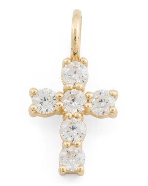 14k Gold Cz Cross Charm