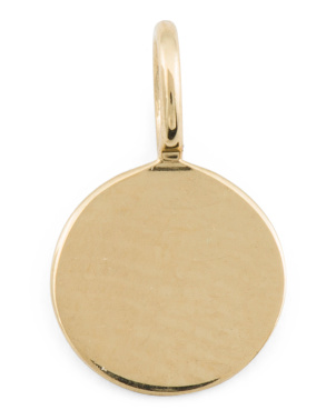 14k Gold Engravable Disc Charm