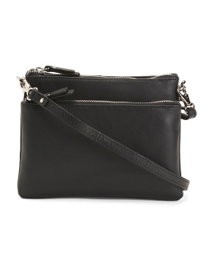 Made In Italy Leather Dual Entry Crossbody