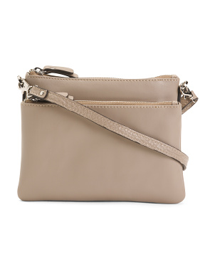 Leather Double Entry Crossbody