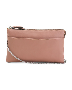 Made In Italy Leather Pouch With Wristlet Strap