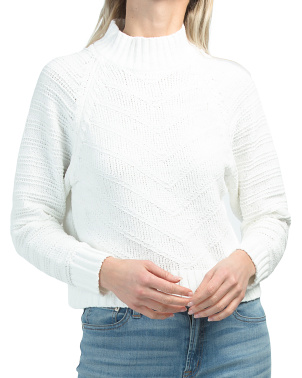 Juniors Textured Mock Neck Sweater