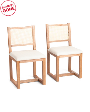 Set Of 2 Rattan Back Dining Chairs With Cushion Seats