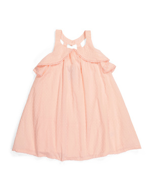 Toddler Girls Swiss Dot Cascade Ruffle Dress