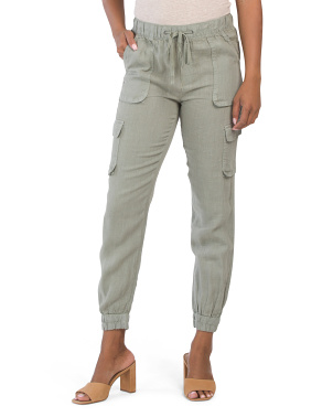 Linen Pigment Pull On Jog Pants With Cargo Pockets