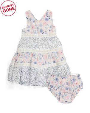 Infant Girls Floral Dress With Diaper Cover