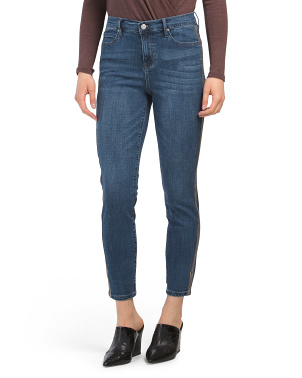 Embroidered Side High Waist Skinny Jeans