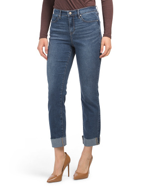 High Waisted Cuffed Slim Jeans